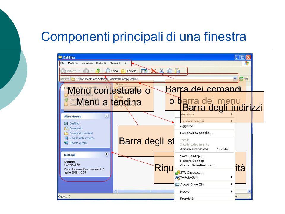 Componenti principali di una finestra Barra dei comandi o barra dei menu Barra degli strumenti Riquadro delle attività Menu contestuale o Menu a tendina Barra degli indirizzi