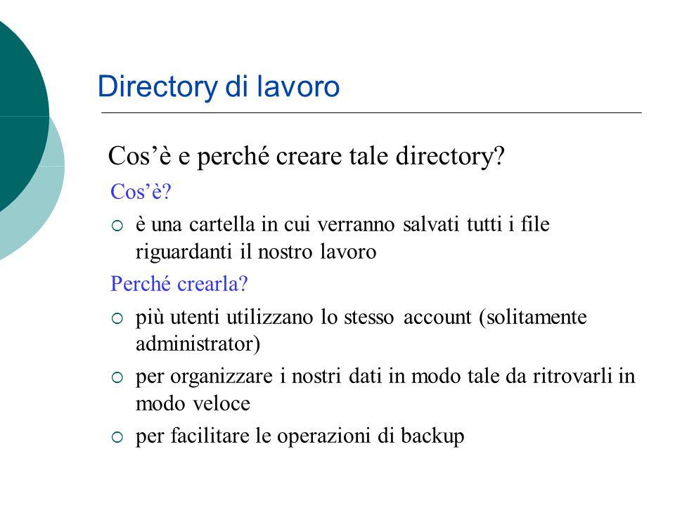 Cosè e perché creare tale directory.Directory di lavoro Cosè.
