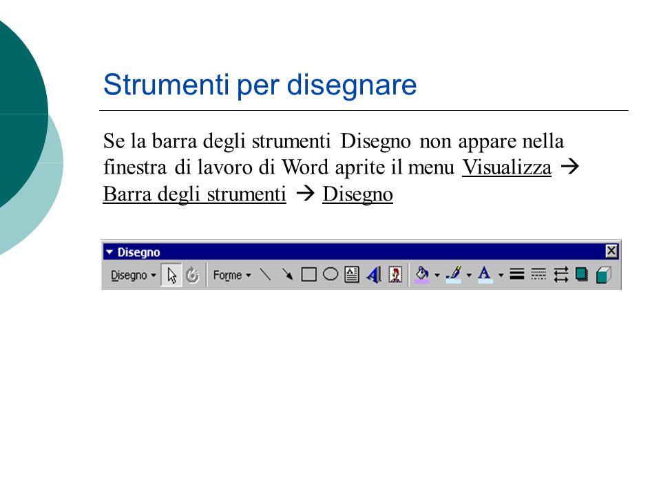 Strumenti per disegnare Se la barra degli strumenti Disegno non appare nella finestra di lavoro di Word aprite il menu Visualizza Barra degli strumenti Disegno