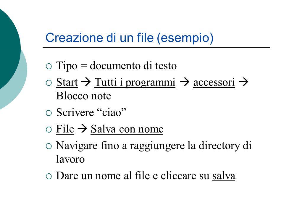 Tipo = documento di testo Start Tutti i programmi accessori Blocco note Scrivere ciao File Salva con nome Navigare fino a raggiungere la directory di lavoro Dare un nome al file e cliccare su salva Creazione di un file (esempio)