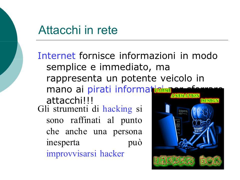 Attacchi in rete Internet fornisce informazioni in modo semplice e immediato, ma rappresenta un potente veicolo in mano ai pirati informatici per sferrare attacchi!!.