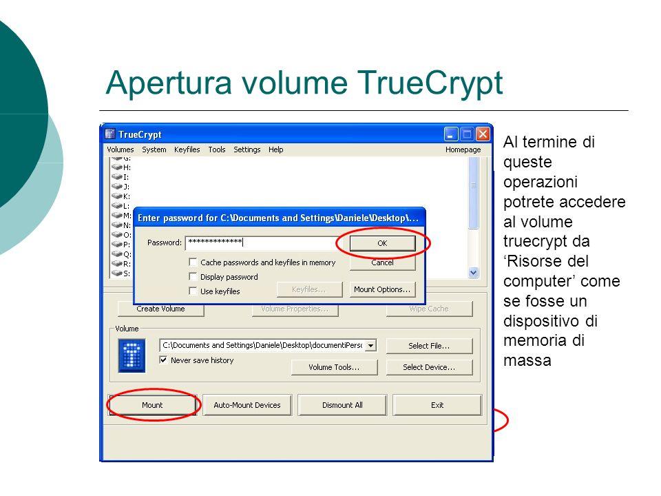 Apertura volume TrueCrypt Al termine di queste operazioni potrete accedere al volume truecrypt da Risorse del computer come se fosse un dispositivo di memoria di massa