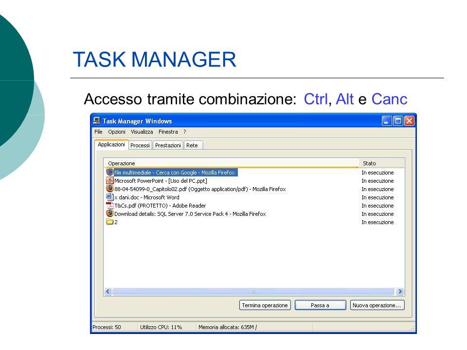 TASK MANAGER Accesso tramite combinazione: Ctrl, Alt e Canc