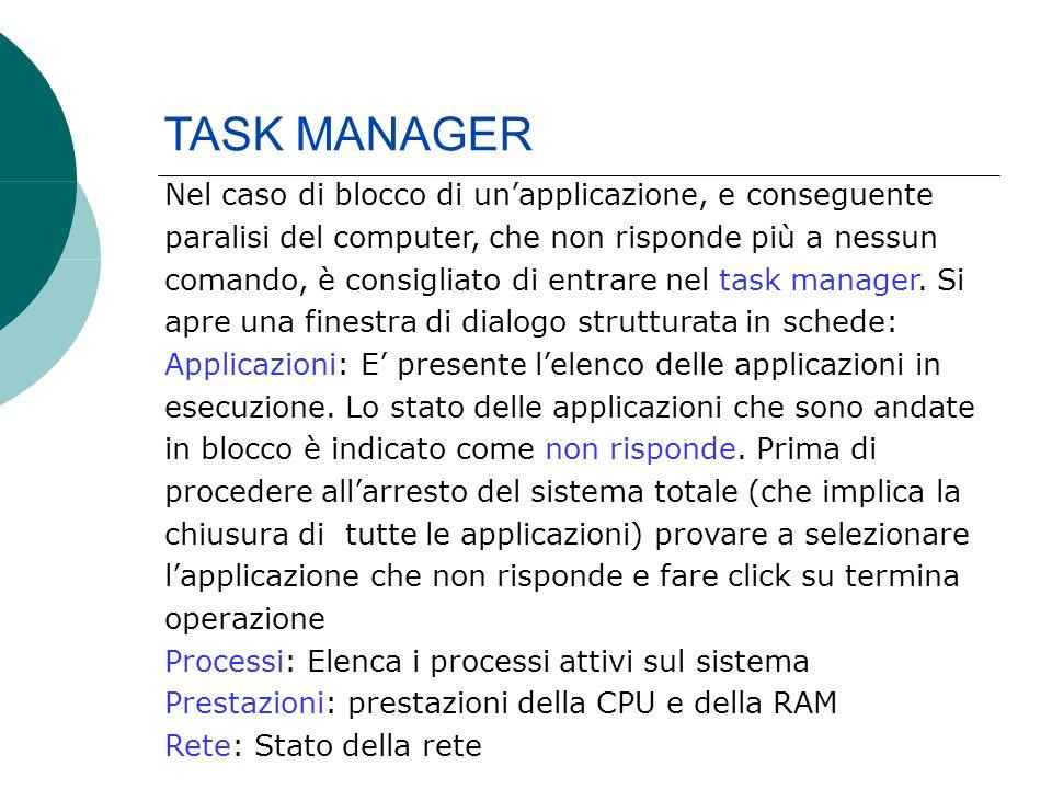 Nel caso di blocco di unapplicazione, e conseguente paralisi del computer, che non risponde più a nessun comando, è consigliato di entrare nel task manager.