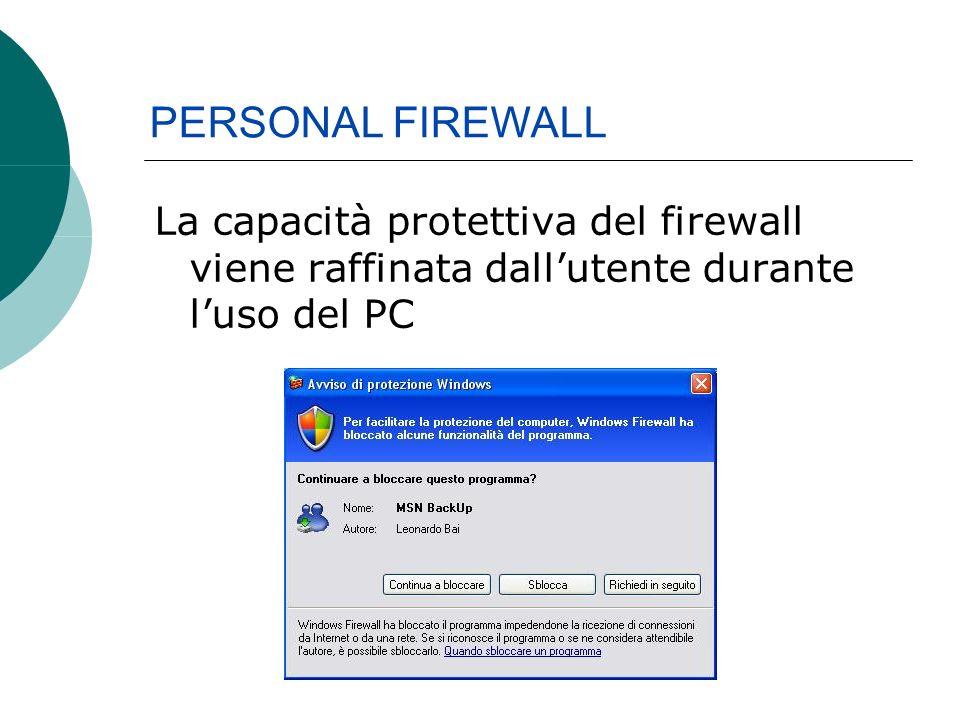 La capacità protettiva del firewall viene raffinata dallutente durante luso del PC PERSONAL FIREWALL