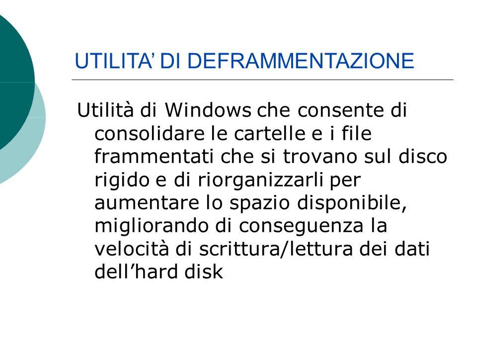 Utilità di Windows che consente di consolidare le cartelle e i file frammentati che si trovano sul disco rigido e di riorganizzarli per aumentare lo spazio disponibile, migliorando di conseguenza la velocità di scrittura/lettura dei dati dellhard disk UTILITA DI DEFRAMMENTAZIONE