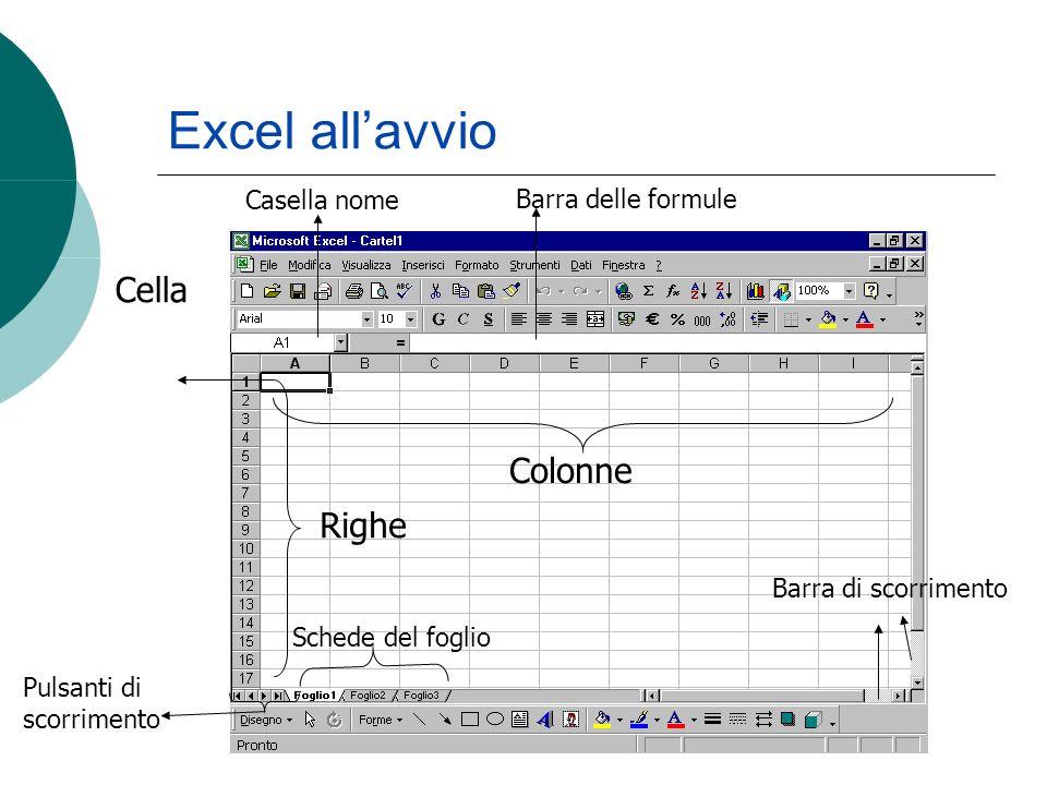 Cella Casella nome Barra delle formule Colonne Righe Schede del foglio Barra di scorrimento Pulsanti di scorrimento Excel allavvio