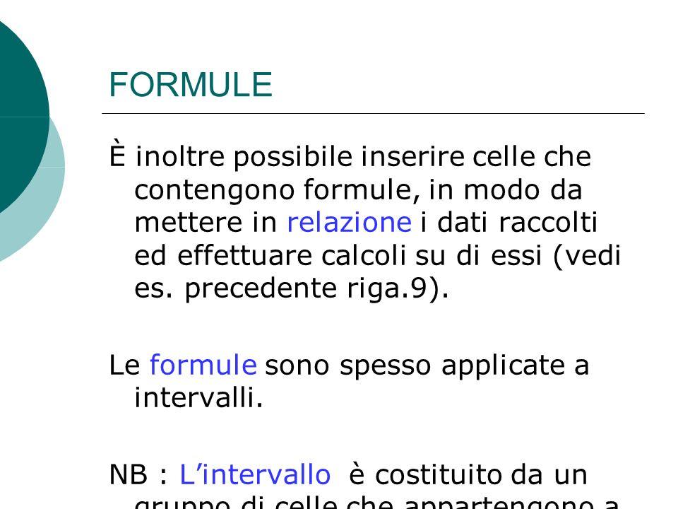FORMULE È inoltre possibile inserire celle che contengono formule, in modo da mettere in relazione i dati raccolti ed effettuare calcoli su di essi (vedi es.