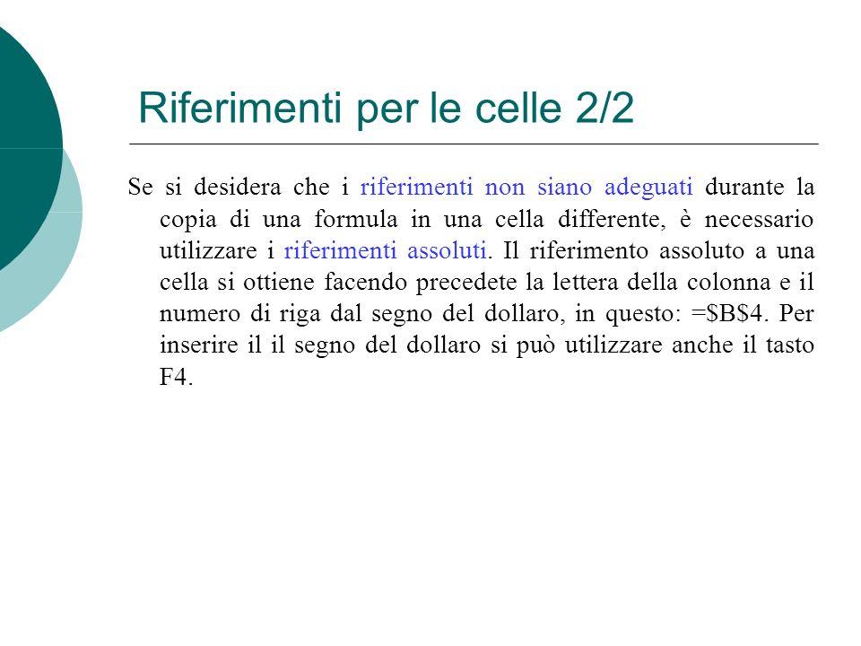 Se si desidera che i riferimenti non siano adeguati durante la copia di una formula in una cella differente, è necessario utilizzare i riferimenti assoluti.