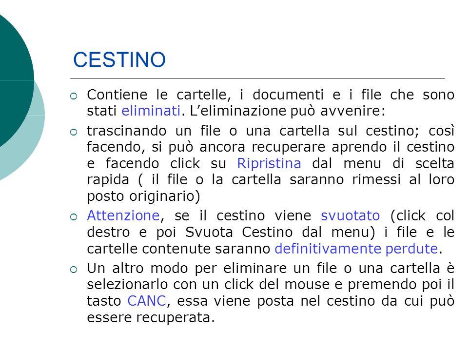 CESTINO Contiene le cartelle, i documenti e i file che sono stati eliminati.