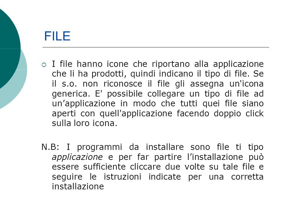 FILE I file hanno icone che riportano alla applicazione che li ha prodotti, quindi indicano il tipo di file.