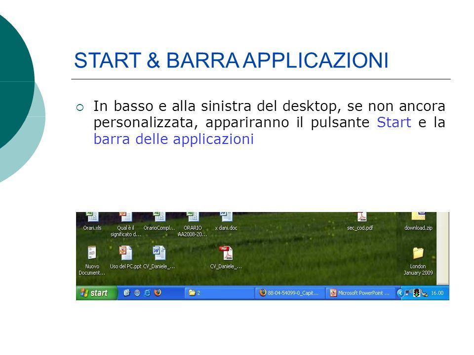 In basso e alla sinistra del desktop, se non ancora personalizzata, appariranno il pulsante Start e la barra delle applicazioni START & BARRA APPLICAZIONI