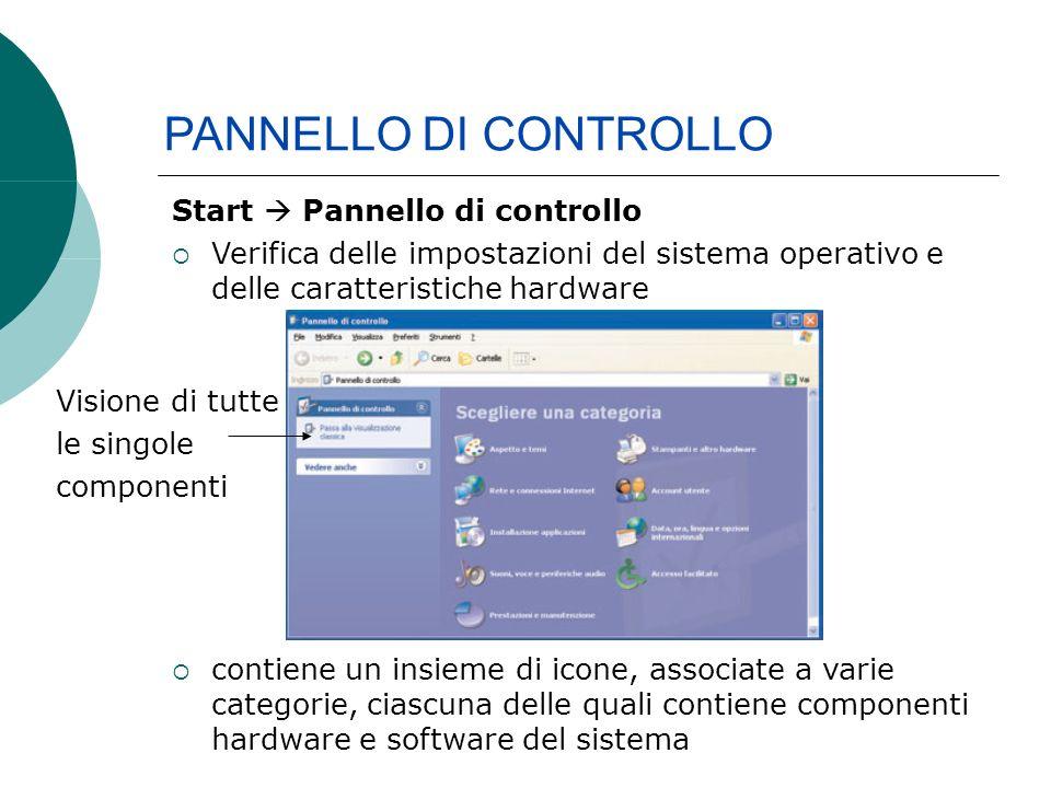 PANNELLO DI CONTROLLO Start Pannello di controllo Verifica delle impostazioni del sistema operativo e delle caratteristiche hardware contiene un insieme di icone, associate a varie categorie, ciascuna delle quali contiene componenti hardware e software del sistema Visione di tutte le singole componenti