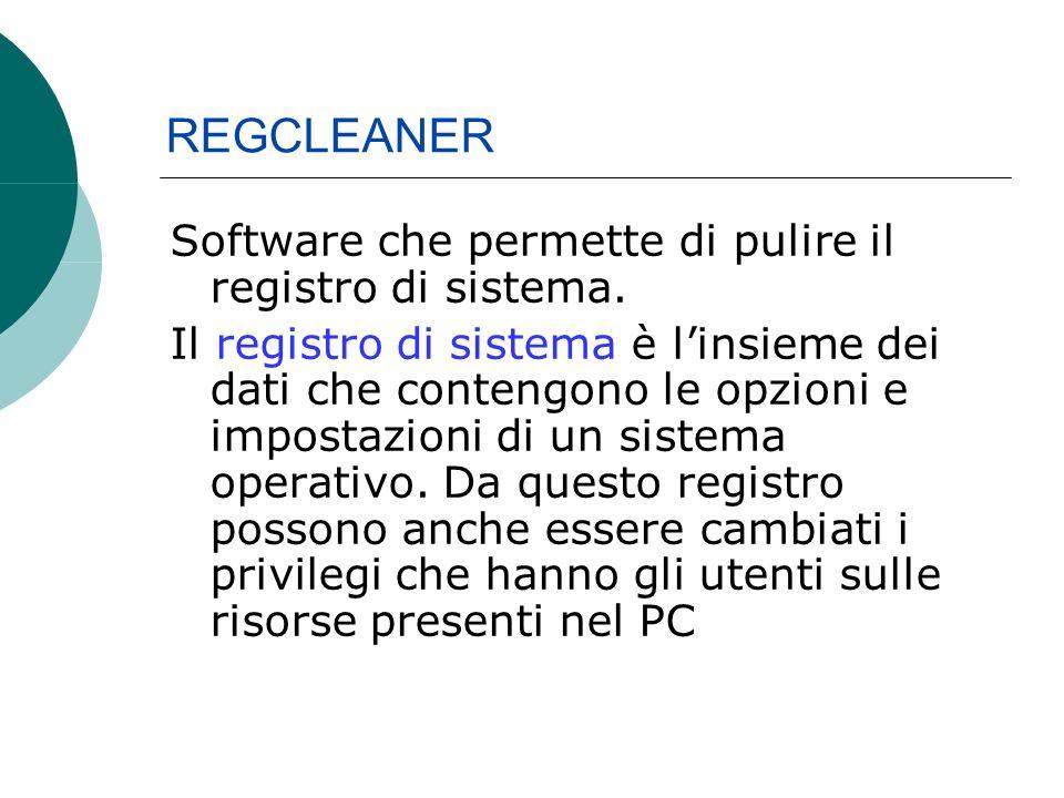 Software che permette di pulire il registro di sistema.