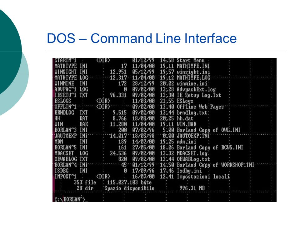 DOS – Command Line Interface