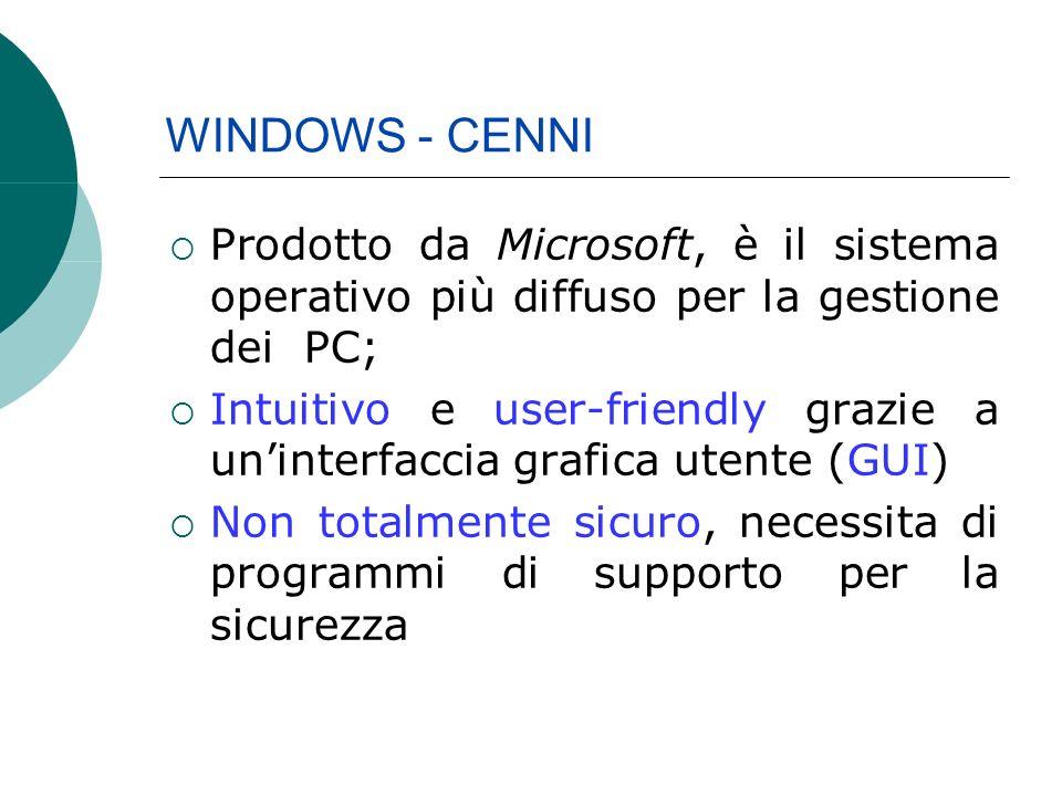 Prodotto da Microsoft, è il sistema operativo più diffuso per la gestione dei PC; Intuitivo e user-friendly grazie a uninterfaccia grafica utente (GUI) Non totalmente sicuro, necessita di programmi di supporto per la sicurezza WINDOWS - CENNI