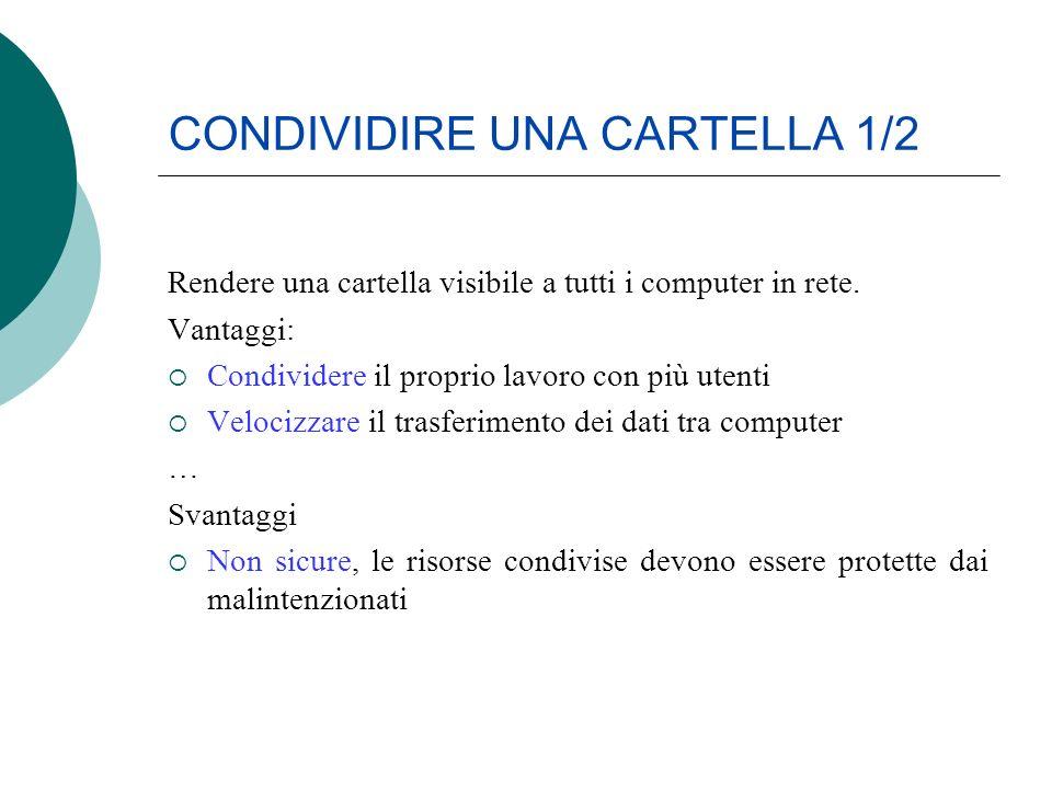 CONDIVIDIRE UNA CARTELLA 1/2 Rendere una cartella visibile a tutti i computer in rete. Vantaggi: Condividere il proprio lavoro con più utenti Velocizz