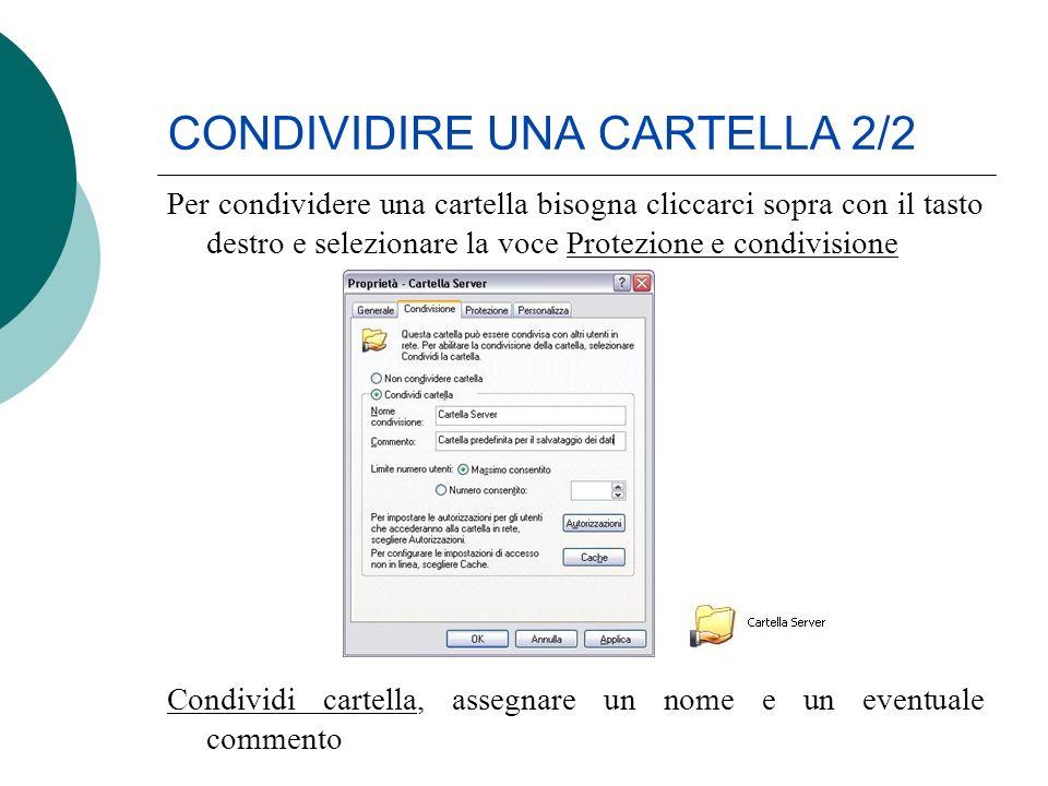 CONDIVIDIRE UNA CARTELLA 2/2 Per condividere una cartella bisogna cliccarci sopra con il tasto destro e selezionare la voce Protezione e condivisione