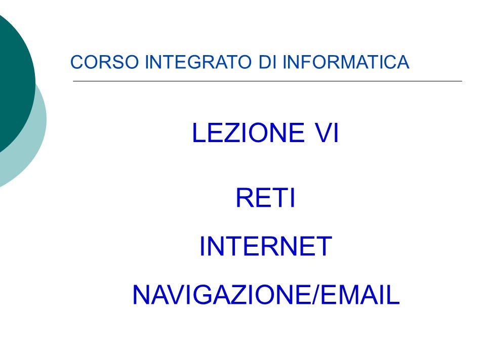 CORSO INTEGRATO DI INFORMATICA RETI INTERNET NAVIGAZIONE/EMAIL LEZIONE VI