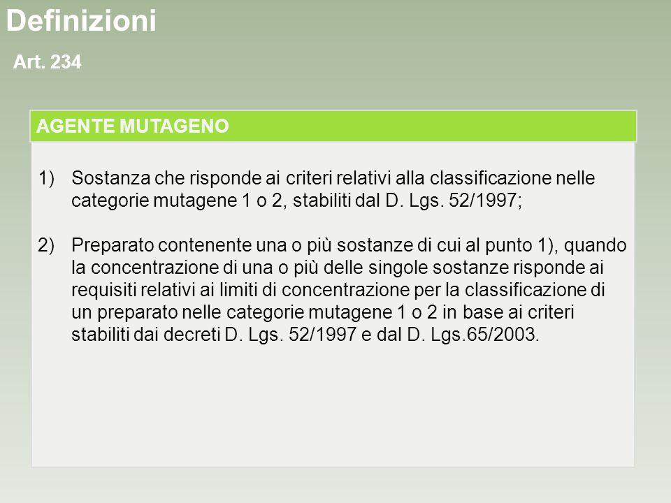 Definizioni Art. 234 1)Sostanza che risponde ai criteri relativi alla classificazione nelle categorie mutagene 1 o 2, stabiliti dal D. Lgs. 52/1997; 2