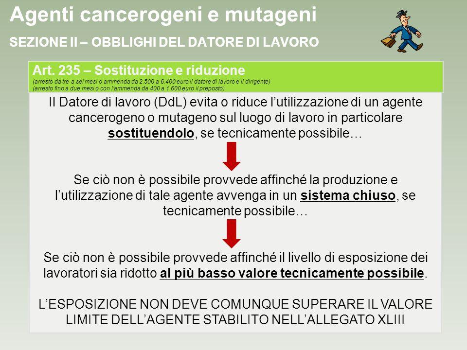 Agenti cancerogeni e mutageni SEZIONE II – OBBLIGHI DEL DATORE DI LAVORO Il Datore di lavoro (DdL) evita o riduce lutilizzazione di un agente cancerog