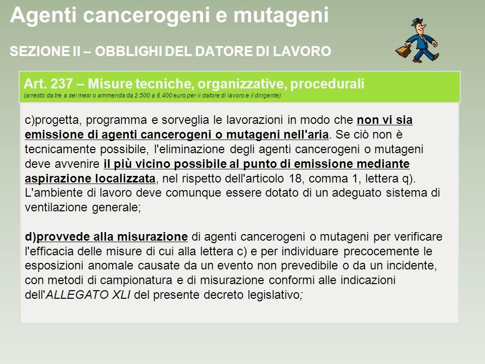 Agenti cancerogeni e mutageni c)progetta, programma e sorveglia le lavorazioni in modo che non vi sia emissione di agenti cancerogeni o mutageni nell'