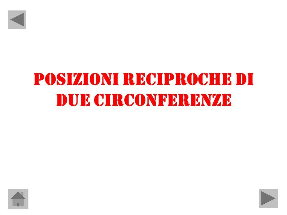 POSIZIONI RECIPROCHE DI DUE CIRCONFERENZE