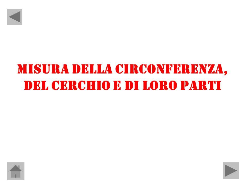 MISURA DELLA CIRCONFERENZA, DEL CERCHIO E DI LORO PARTI