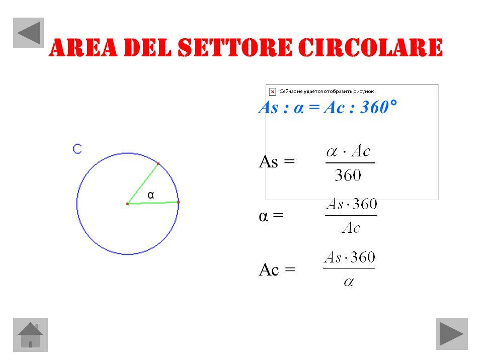 AREA DEL SETTORE CIRCOLARE As : α = Ac : 360° As = α = Ac = α