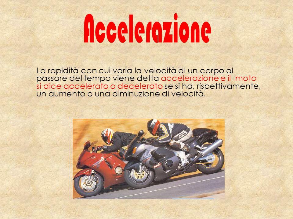 La rapidità con cui varia la velocità di un corpo al passare del tempo viene detta accelerazione e il moto si dice accelerato o decelerato se si ha, r