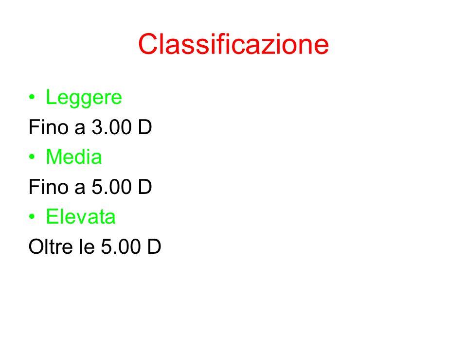 Classificazione Leggere Fino a 3.00 D Media Fino a 5.00 D Elevata Oltre le 5.00 D
