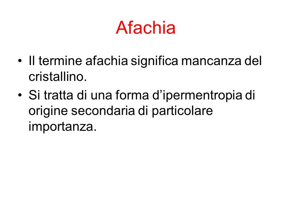 Afachia Il termine afachia significa mancanza del cristallino. Si tratta di una forma dipermentropia di origine secondaria di particolare importanza.