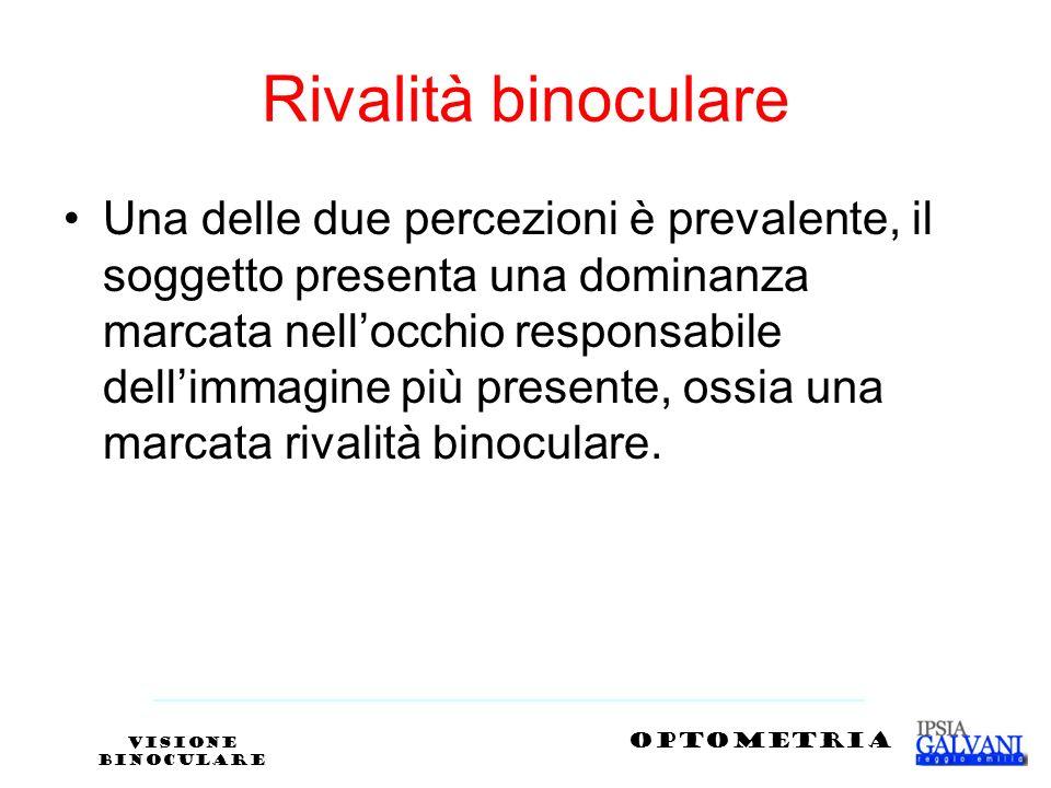 Rivalità binoculare Una delle due percezioni è prevalente, il soggetto presenta una dominanza marcata nellocchio responsabile dellimmagine più present