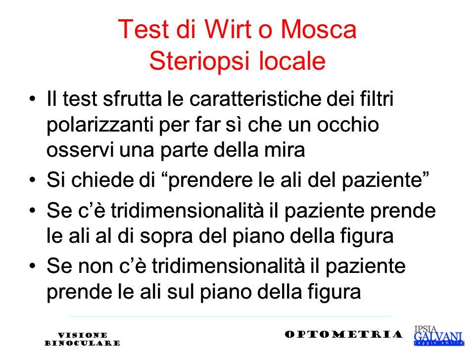 Test di Wirt o Mosca Steriopsi locale Il test sfrutta le caratteristiche dei filtri polarizzanti per far sì che un occhio osservi una parte della mira