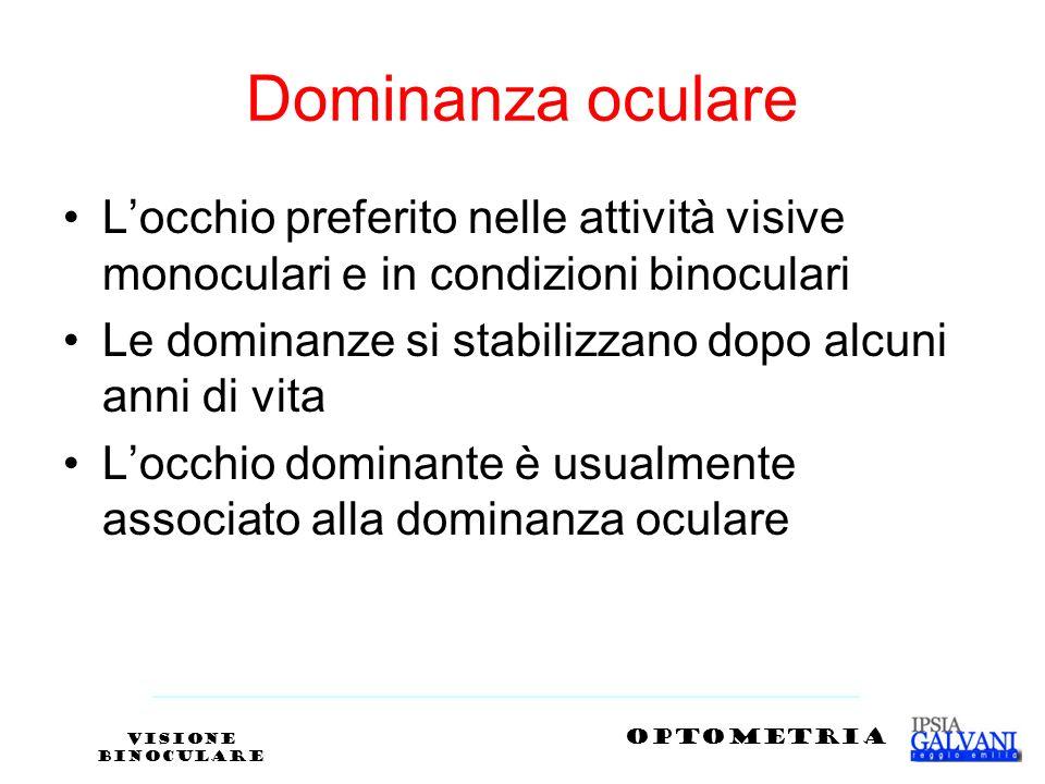 Dominanza oculare Locchio preferito nelle attività visive monoculari e in condizioni binoculari Le dominanze si stabilizzano dopo alcuni anni di vita