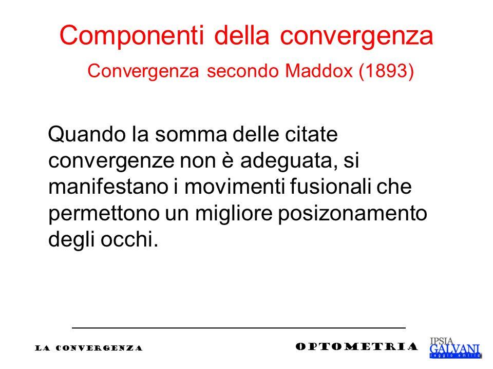 Componenti della convergenza Convergenza secondo Maddox (1893) Quando la somma delle citate convergenze non è adeguata, si manifestano i movimenti fus