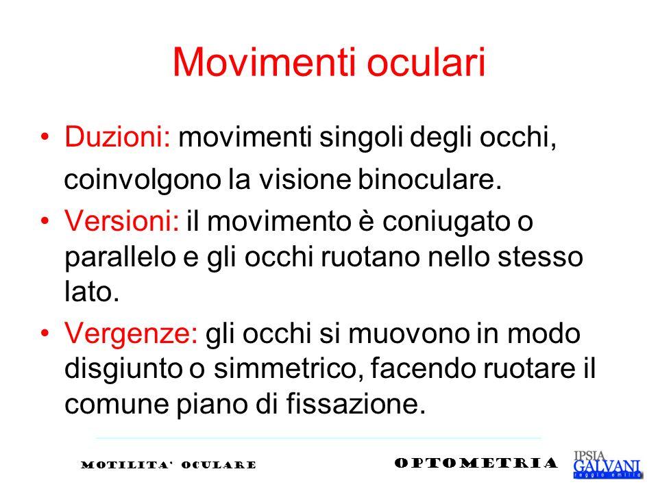 Movimenti oculari Duzioni: movimenti singoli degli occhi, coinvolgono la visione binoculare. Versioni: il movimento è coniugato o parallelo e gli occh