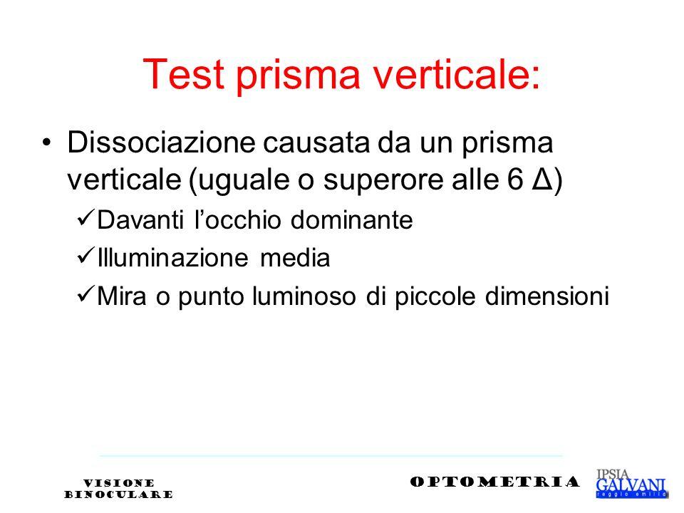 Test prisma verticale: Dissociazione causata da un prisma verticale (uguale o superore alle 6 Δ) Davanti locchio dominante Illuminazione media Mira o