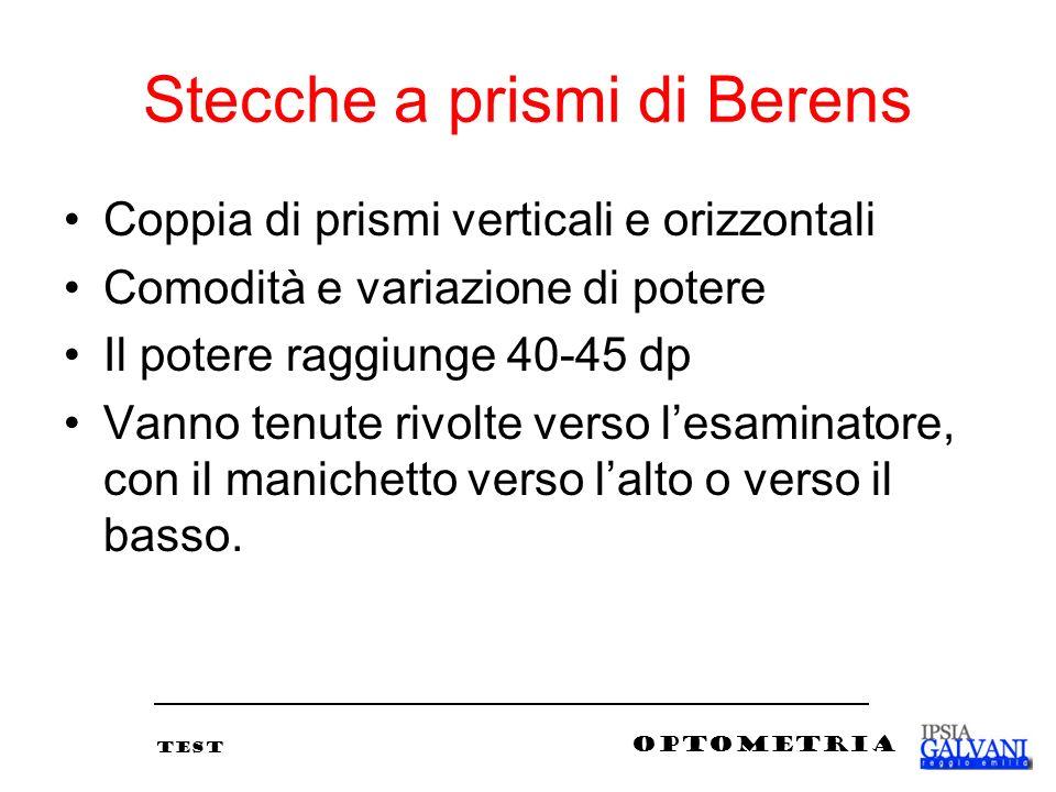 Stecche a prismi di Berens Coppia di prismi verticali e orizzontali Comodità e variazione di potere Il potere raggiunge 40-45 dp Vanno tenute rivolte