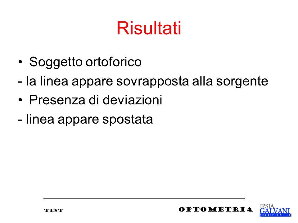 Risultati Soggetto ortoforico - la linea appare sovrapposta alla sorgente Presenza di deviazioni - linea appare spostata TEST OPTOMETRIA