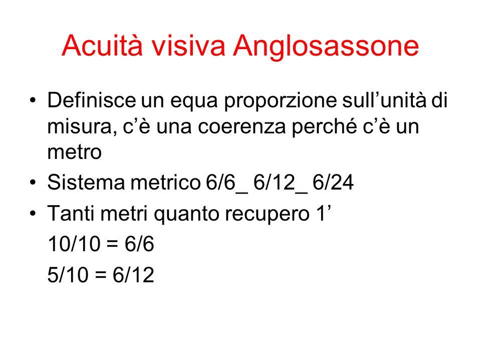 Acuità visiva Anglosassone Definisce un equa proporzione sullunità di misura, cè una coerenza perché cè un metro Sistema metrico 6/6_ 6/12_ 6/24 Tanti metri quanto recupero 1 10/10 = 6/6 5/10 = 6/12