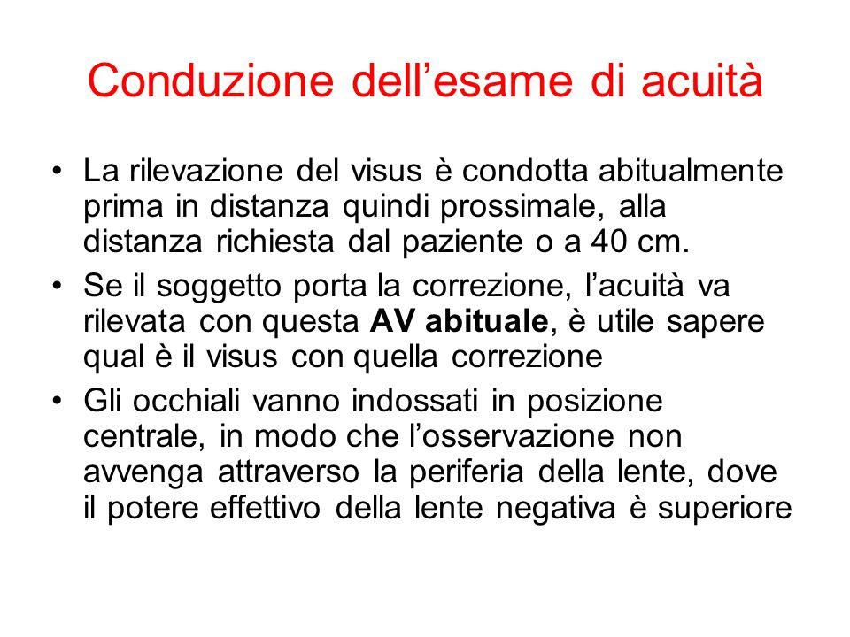 Conduzione dellesame di acuità La rilevazione del visus è condotta abitualmente prima in distanza quindi prossimale, alla distanza richiesta dal paziente o a 40 cm.