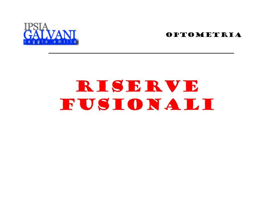 Riserva fusionale negativa Ripetere la misura per la riserva fusionale negativa Il prisma a base interna è usato per misurare le riserve fusionali negative Ricorda che con la misura delle riserve fusionali negative non cè il punto di sfuocamento RISERVE FUSIONALI OPTOMETRIA