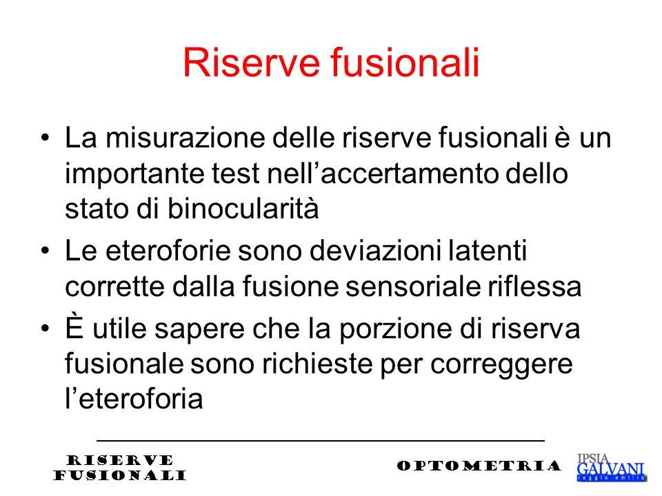 Riserve fusionali La misurazione delle riserve fusionali è un importante test nellaccertamento dello stato di binocularità Le eteroforie sono deviazioni latenti corrette dalla fusione sensoriale riflessa È utile sapere che la porzione di riserva fusionale sono richieste per correggere leteroforia RISERVE FUSIONALI OPTOMETRIA