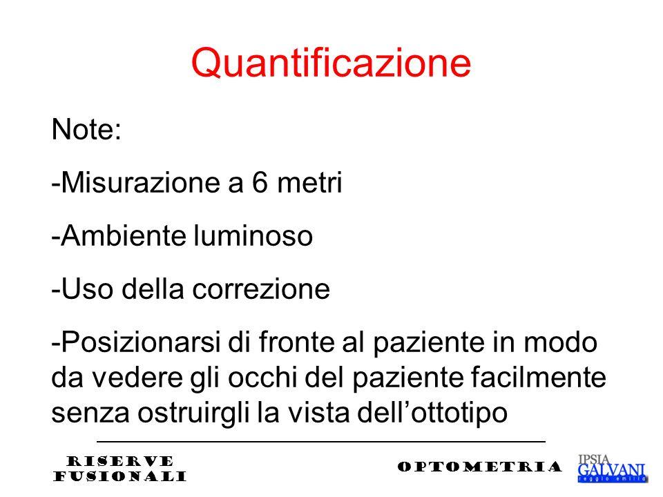 Quantificazione Note: -Misurazione a 6 metri -Ambiente luminoso -Uso della correzione -Posizionarsi di fronte al paziente in modo da vedere gli occhi del paziente facilmente senza ostruirgli la vista dellottotipo RISERVE FUSIONALI OPTOMETRIA