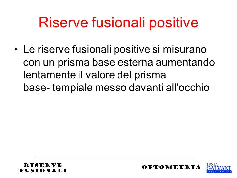 Riserve fusionali positive Le riserve fusionali positive si misurano con un prisma base esterna aumentando lentamente il valore del prisma base- tempiale messo davanti all occhio RISERVE FUSIONALI OPTOMETRIA