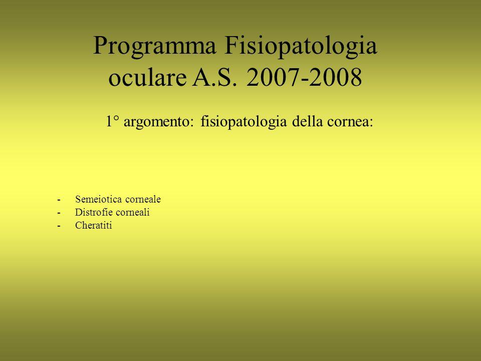 Programma Fisiopatologia oculare A.S. 2007-2008 -Semeiotica corneale -Distrofie corneali -Cheratiti 1° argomento: fisiopatologia della cornea: