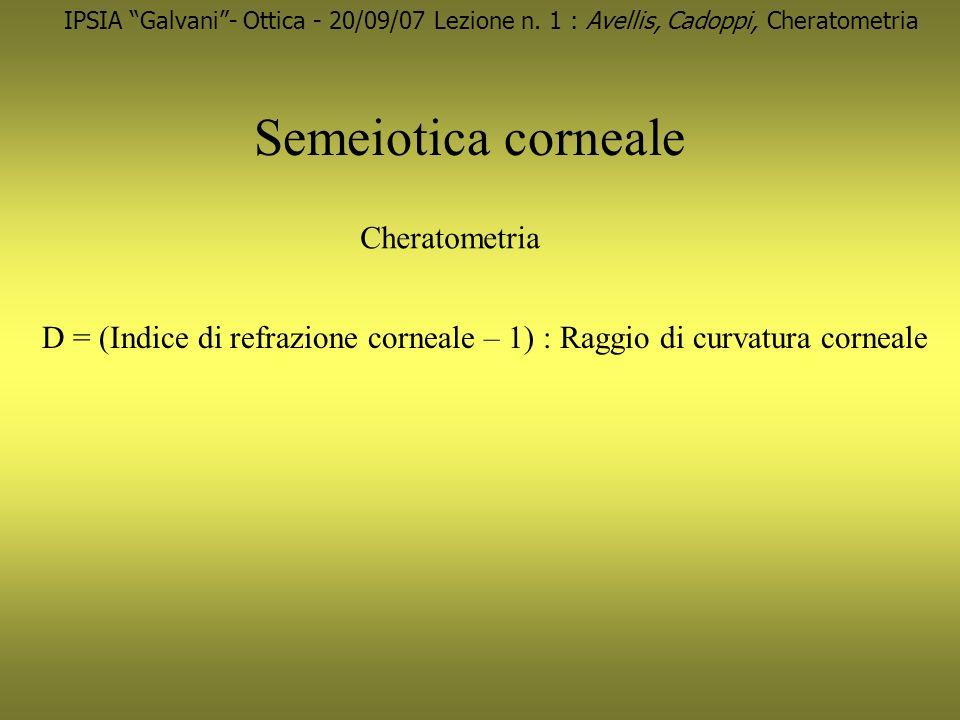 Semeiotica corneale IPSIA Galvani- Ottica - 20/09/07 Lezione n. 1 : Avellis, Cadoppi, Cheratometria Cheratometria D = (Indice di refrazione corneale –