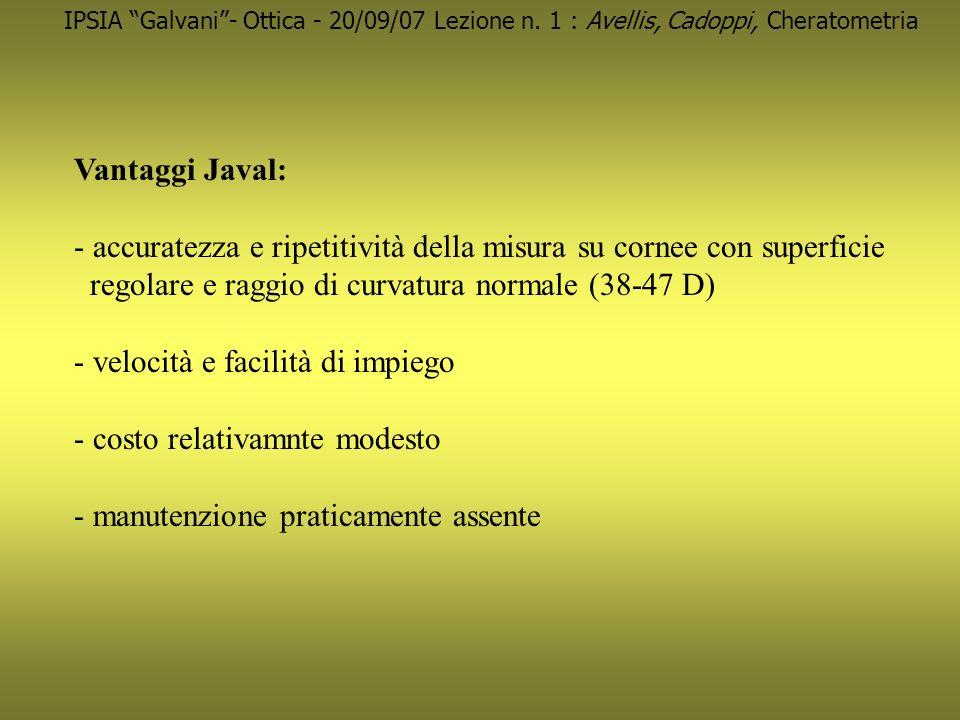 IPSIA Galvani- Ottica - 20/09/07 Lezione n. 1 : Avellis, Cadoppi, Cheratometria Vantaggi Javal: - accuratezza e ripetitività della misura su cornee co