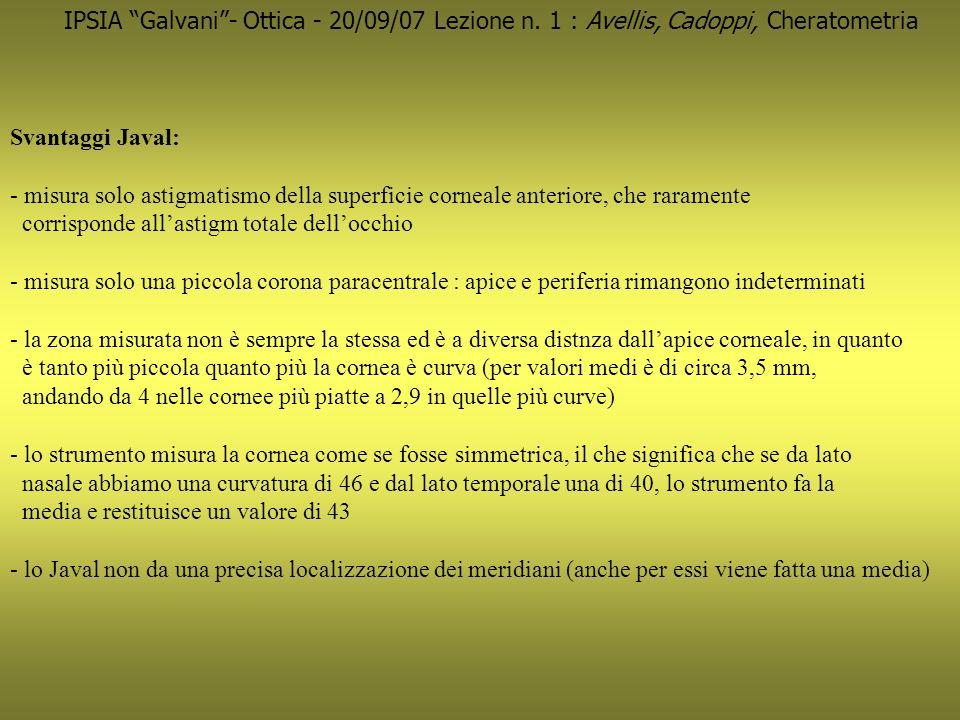 IPSIA Galvani- Ottica - 20/09/07 Lezione n. 1 : Avellis, Cadoppi, Cheratometria Svantaggi Javal: - misura solo astigmatismo della superficie corneale
